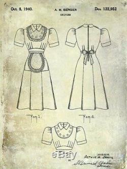 1940s Dead Stock Work Wear Waitress Factory Uniform Dress Cotton With Pockets Sz S