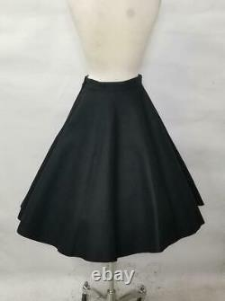 1950's Vintage Dead Stock Full Circle Wool Felt Skirt with Floral Appliques