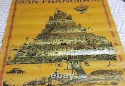 1968 David Schiller Pop Art San Francisco Vtg Poster Grateful Dead Jef Airplane