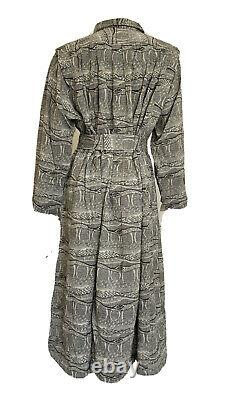 Adini Long Sleeve Tent Dress Rn #53395 Black & Beige Woven Kaftan Dead Stock Os