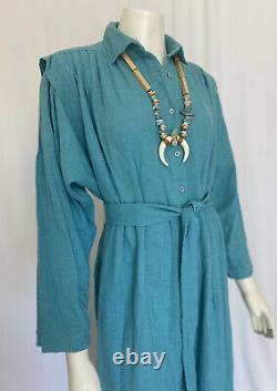 Adini Long Sleeve Tent Dress Rn #53395 Solid Green Woven Kaftan Dead Stock Osfm