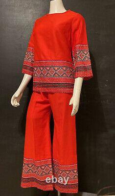 Alfred Shaheen Tribal Print Pant Outfit RARE Set Lounger Hostess Dead Stock Rare