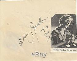 BOBBY JORDAN Vintage Original DEAD END KIDS Photo & RARE Autograph Leaf Signed