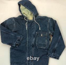 Brents Sportswear Dead Stock Sherpa Lined Hooded Denim Jacket Size Medium USA