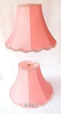Drop Dead Gorgeous Vintage Pair French Chic Silk Bubblegum Pink Flared Lamp Shad