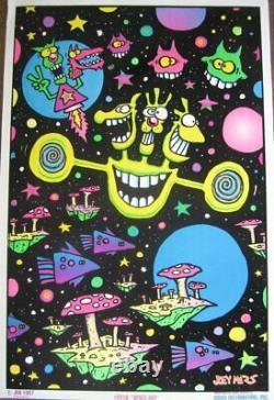 Felt Black Light Poster 1997 Joey Mars Space Out Grateful Dead Vintage