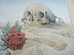 Framed Vintage Grateful Dead Poster Europe Tour 1981 Stanley Mouse Skull & Rose