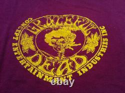 GRATEFUL DEAD 1972 Vintage Original Concert Tour Crew T-Shirt Burgundy