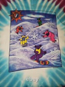 GRATEFUL DEAD Vintage 1990 Bears Snowboarding T Shirt Tie Dye Tour Concert Band