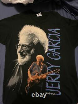 Grateful Dead Jerry Garcia Liquid Blue 1995 Memorial/Memorium Vintage XL Shirt