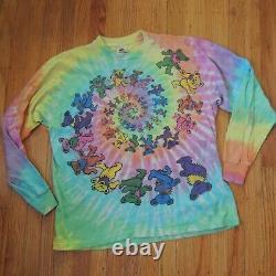 Grateful Dead Vintage 1989 T Shirt XL 80s Tie Dye Bears Long Sleeve Multicolor
