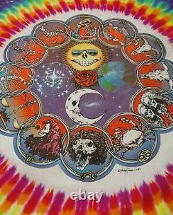 Jerry Jasper Garcia Grateful Dead Band Bandana Vintage 1987 Tie Dye Zodiac