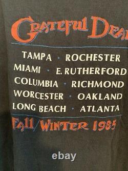 MENS Vintage 1980s THE GRATEFUL DEAD Band 1985 Fall/ Winter Tour T-Shirt Sz XL