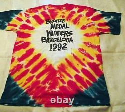MINT Vtg 1992 Grateful Dead Tie Dye Tee Shirt Lithuania Barcelona Liquid Blue XL