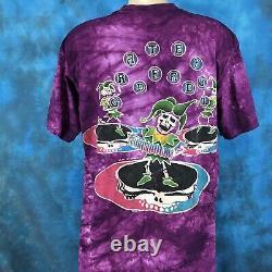 NOS vintage 90s GRATEFUL DEAD CONCERT JESTER TIE DYE T-Shirt XL rock tour