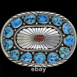 Native American Coral Turquoise Sterling Silver Dead Pawn 70s Vtg Belt Buckle