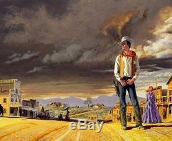ORIGINAL VINTAGE WESTERN PULP ILLUSTRATION COVER ART PAINTING Dead Men Bounty