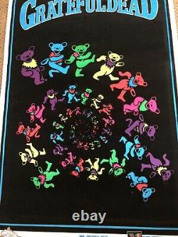Original Vintage 1991 Grateful Dead Dancing Bears Black Light Poster Funky #860