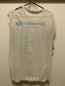Original Vintage 90s Nirvana Nevermind T Shirt Size Large Sleeveless Worn Beat