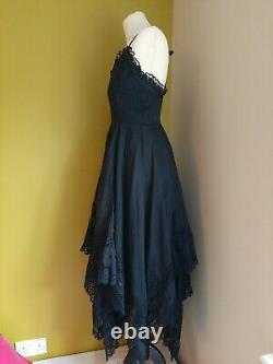 Original Vintage Cotton Mexican Wedding Gypsy Day of Dead Tiered Dress & Shawl