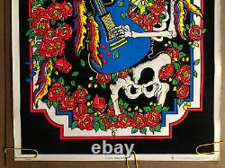 Original Vintage Poster Grateful Dead Rock Skeleton Velvet Black Light Pin Up