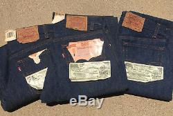 RARE! Lot Of 3! Levi's 1984 & 1987 Vintage 501 Dead Stock NOS Made In USA Denim