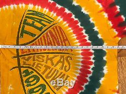 RARE Vintage Grateful Dead Liquid Blue Tie Dye Shirt 1996 LITHUANIA XL RHCP Flea