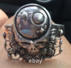 Rare Vintage Space Your Face Grateful Dead Sterling Silver Cuff Bracelet