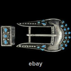 Sterling Silver Turquoise Zuni Native American Old Dead Pawn 70 Vtg Belt Buckle