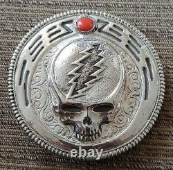 Ultra Rare Handmade Vintage 80s Grateful Dead Steal Your Face Silver Belt Buckle