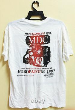 VINTAGE 80s MDC M. D. C MILLIONS OF DEAD COPS PUNK ROCK HARDCORE TOUR T-SHIRT