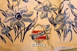 VINTAGE Kitchen TABLECLOTH 1940'S 52 x52 Dead Stock Biltmore Hand Printed Blue