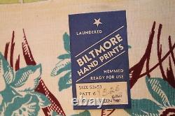 VINTAGE Kitchen TABLECLOTH 1940'S 53 x53 Dead Stock Biltmore Hand Printed Green