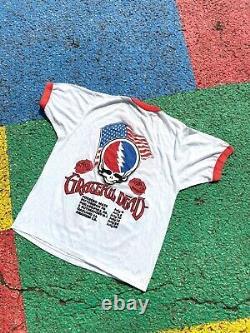 VTG 1987 Grateful Dead Bob Dylan Dead Ahead Summer Tour Graphic Ringer Shirt M/L