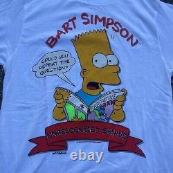 VTG 1990 Dead-Stock Bart Simpson Unrecognized Genius Graphic T-Shirt Size L