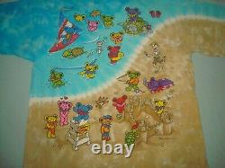 VTG 1999 GRATEFUL DEAD BEAR BEACH TIE DYE T SHIRT LARGE LIQUID BLUE 90s PEACE