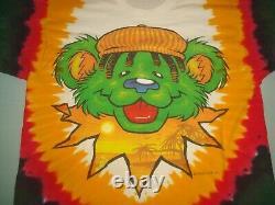 VTG 1999 GRATEFUL DEAD BEAR TIE DYE T SHIRT MEDIUM LIQUID BLUE 90s PEACE RASTA
