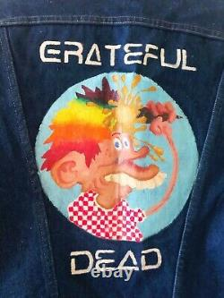 VTG GRATEFUL DEAD 70s USA Denim Jean Jacket HAND PAINTED Europe 72 Tour Maverick