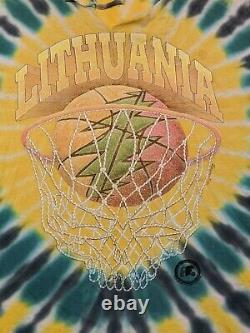 VTG ORIGINAL 96 Grateful Dead Lithuania Basketball Olympic Tye Dye T Shirt Anvil