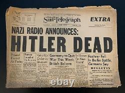 Vintage 1945 WWII Pittsburgh Sun-Telegraph Hitler Dead Newspaper