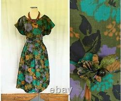 Vintage 1950s 1960s Dead Stock Dress Cotton Floral Print by Mary Mac 42 XL NOS