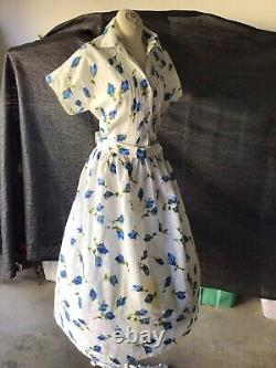 Vintage 1950s 50s Cotton Shirt Waist Dress Blue Roses Dead Stock B 40 W 32