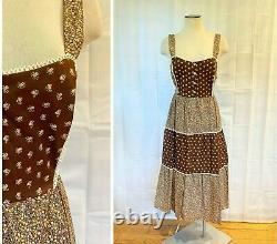 Vintage 1970s Sun Dress Dead Stock Brown Cream Peach Green 40 L Gunne Sax Style