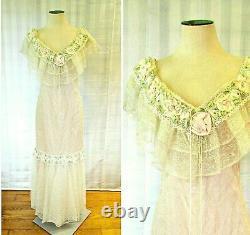 Vintage 1980s Evening Gown Edwardian Wedding Dress 36 37 M Loralie Dead Stock
