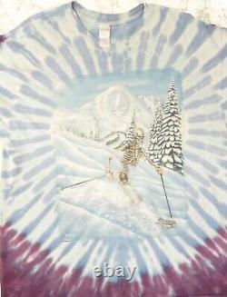 Vintage 1995 Grateful Dead Tie Dye Concert T-Shirt Skiing Skeleton XL
