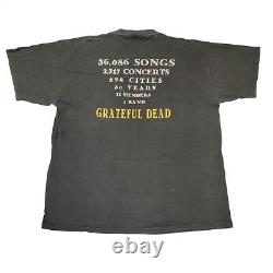 Vintage 1996 Grateful Dead Steal Your Face 30 Year Band Stats T-shirt size XL