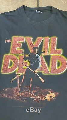 Vintage 2001 The Evil Dead Horror Movie Black Double Sided T-Shirt Size XL