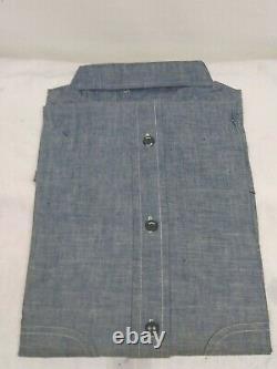 Vintage 50s DOUBLE RINGER Sanforized Blue Chambray Work Shirt Dead Stock