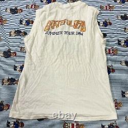 Vintage 80s 1984 GRATEFUL DEAD Summer Tour Tank Top Shirt White HANES XL USA