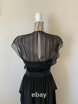 Vintage 80s Pierre Cardin Boutique Dead Stock Black Silk Small